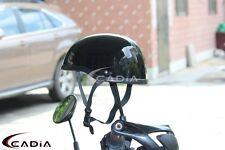 Motorcycle Half Helmet Skull Cap Black For Chopper Bobber Cruiser Bikes Gloss