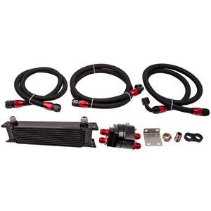 Universal 10-Row An10 Engine Transmission Oil Cooler Filter Relocation Kit Black