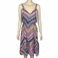 SUSSAN Women's Size 12 Multicoloured Sleeveless V-Neck Midi Casual Dress
