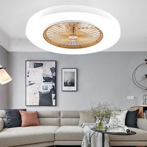 Round Ceiling Fan Lamp LED Chandelier Light Modern w/ Remote Bedroom Living Room