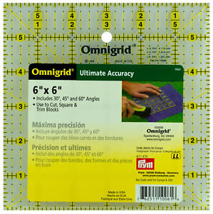 "Omnigrid 6"" x 6"" Ruler 30 45 60 Degree Angles Cut Square Trim Blocks 6 in Square"