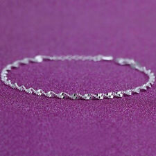 Wrist Bracelet Twisted Rope Chain Women Fashion Gift 925 Sterling Silver Plated