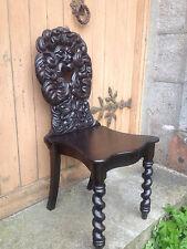 Carved Victorian Oak Green Man Shield Back Hall Throne Chair barley twist