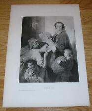 ANTIQUE LADY BOUNTIFUL MISSIONARY CHARITY ALMS KINDESS CHILDREN OLD ART PRINT