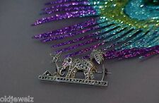 Pin Egyptian Revival Lotus Flower Sterling Silver Marcasite Pyramids Elephant