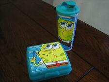 Tupperware Sponge Bob  Lunch Set Sandwich Keeper Tumbler Flip Up Cap