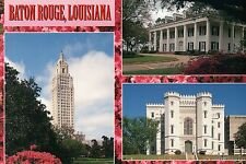 Baton Rouge, Louisiana, State Capitol Old + New, Governor's Mansion --- Postcard