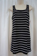 Swim Cover Coco Rave Sz M Black White Striped Tank Beach Wear Swim Cover Up