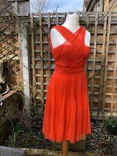 Christian Dior 💯Silk Orange Red Dress Size Uk 8-10 Party Wedding