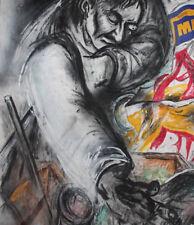Large Modernist oil painting man portrait