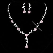 Bridal Pink Rhinestone Crystal Wedding Flower Necklace Earrings Set N296