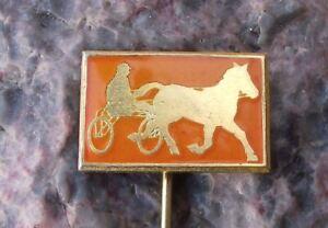 Vintage Harness Racing Two Wheeled Cart & Jockey Rider Horse Race Pin Badge