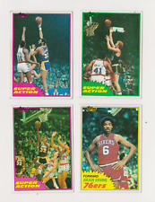 1981-82 Topps Basketball Magic,Bird,Jabbar & Erving Super Action Nm/Mt Lot of 4