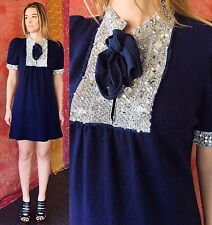 Vintage 70s Mod Party Dress Sequin Beaded Navy Cocktail Babydoll Mini