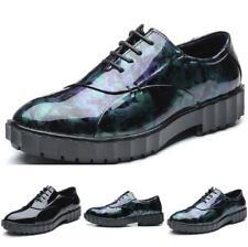 Men's Leisure Leather Shoes Pumps Lace up Patent Leather Flats Non-slip Clubwear