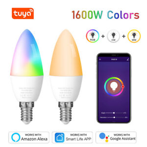 E14 LED Wifi Smart Light Bulb 5W Remote Control RGBW Lamp For Alexa Google Home