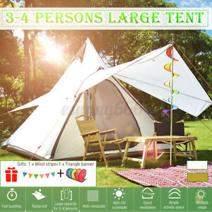 Large Lightweight Waterproof Family Tent Indian Style Pyramid Tipi Tents Cover 1