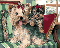 Yorkies Yorkshire Terrier & Baby On Sofa Needlepoint Canvas  H29