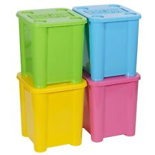 Set of 4 Plastic Stackable Coloured Toy Storage Boxes With Lids Sturdy Container