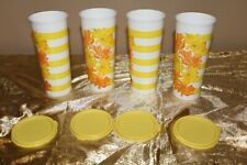 New Set of 4 Tupperware Beautiful Flowers Design 16oz Tumblers with lids