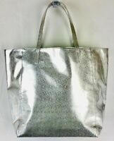 Clinique Women's Tote Bag Silver Green Large Shoulder Make Up Beach NWT