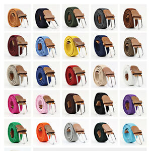 Men Women Waist Belt Faux Leather Canvas Woven Elastic Stretch Pin Buckle Unisex