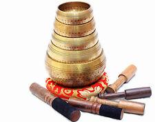 Beaten Tibetan Singing Bowl Set of 5 Hand Hammered - Buddhist Meditation Bowls