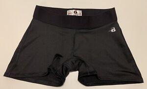 Badger Sport Girls Medium M (~10/12) Solid Black Fitted Athletic running shorts
