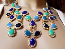New Auth KATE SPADE Designer Goldstone Crystal Resin Blue Green NECKLACE SIGNED