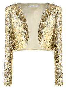 Anna-Kaci Shiny Sequin Long Sleeve Glitter Cropped Blazer Bolero Shrug