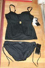 New NWT Women's 2 piece Bathing Swim Suit Coco Reef 40DD Black XL Bottoms Bikini