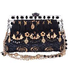 DOLCE & GABBANA Raffia Baroque Crystals Purse Clutch Bag VANDA Black Gold 06519