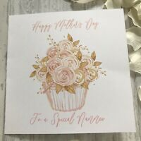 Personalised Floral Cupcake Pink Gold Mothers Day Birthday Card Mum Nana Nanny