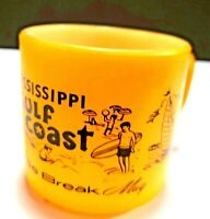 Vintage Federal Glass Coffee Mug Cup Yellow Mississippi Gulf Coast Souvenir