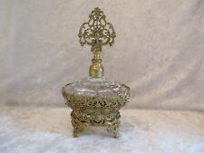 Pressed Glass with Ornate Ormolu Filigree Base Perfume Bottle and Glass Dauber