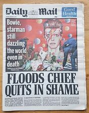 Daily Mail Newspaper Tuesday January 12, 2016 David Bowie