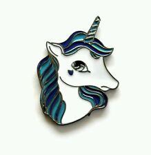 Esmalte Azul Glitter Unicornio Kawaii Pin Insignia 35mm