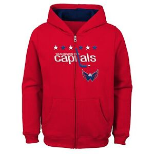 Outerstuff Washington Capitals NHL Boys Kids (4-7) Stated Full Zip Hoodie, Red