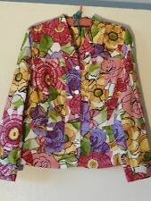Chico's 2 Design Jacket Misses L Cotton Yellow Purple Multi Color Floral Size 2