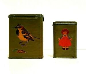 Upcycled Bandaid Tin Shabby Cottage Chic Tin Vase Bird Raggedy Ann Doll Preowned