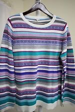 Talbots Wool Blend Multi-Colored Striped Crew-neck Sweater Size - XL