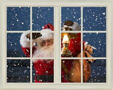 """Wall Mural-Santa Claus Carrying Gifts outside of Window on Christmas Eve-24""""x32"""""""