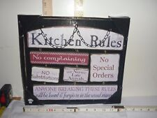 KITCHEN RULES Wall Sign with Chain Hanger - NIB - by Gift Craft (?)