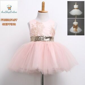 Girls Kid Birthday Party Formal Tulle Tutu Sequin Bow Dress size 6M,(1,2,3,4)Y