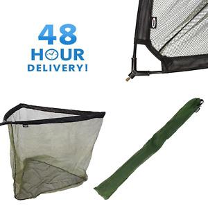 "36"" INCH CARP COARSE FISHING LANDING NET WITH V BLOCK STINK BAG GREEN MESH NGT"