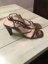 Anne Klein Snake Print Strappy Leather Sandal Heels Size 8M Gold and Black