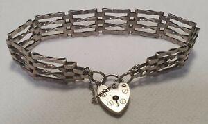 Sterling Silver Gate Bracelet Fine Jewellery Heart Padlock Clasp London c1975-9