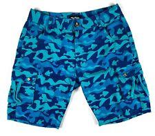 Pink Dolphin 2013 Ocean Blue Camo Mens Cargo Zipper Shorts 32 Rare Legend