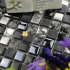 black glass mix stone and metal mosaic for bathroom shower backsplash tile