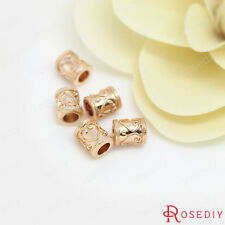 (30813)6PCS 6x7MM 24K Gold Plated Brass Cylinder Spacer Beads Bracelet Beads